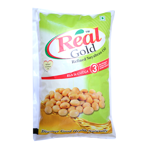 REAL GOLD REFINED SOYABEAN OIL 1LTR POUCH